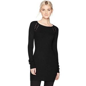 BCX Black Ribbed Knit Tunic Sweater with Grommets